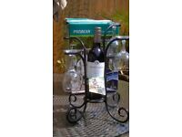 WINE GLASS AND BOTTLE STAND