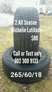 2 Michelin Latitude. 265 60 18