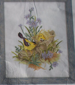 Gold Finches in Shoe stamped embroidery kit