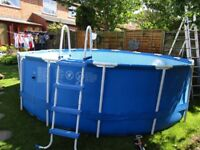 Very Large garden pool Intex 48 deep by 15 foot apox. With Ladder and bits.