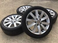 "GENUINE VW 17"" GOLF MK5/MK6/MK7 PORTO ALLOYS w/TYRES 225/45/17 - CADDY/TOURAN - SLOUGH"