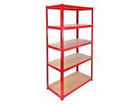 £40 HEAVY DUTY 174kg/shelf RED Storage shelves 180cm x 90cm x 40cm Metal Racking Garage delivery