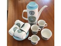 J&G Meakin Vintage Aztec Coffee Set, 6 cups and saucers, milk jug, sugar bowl, coffee pot