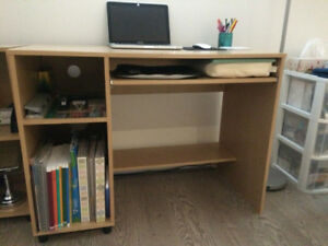 Desk, Shelves, and Office Chair