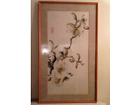 Vintage Japanese Water Color Signed Painting On Rice Paper