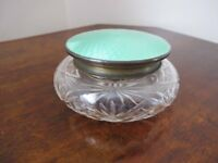 Art Deco cut glass & enamel powder bowl