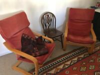 Two Ikea Poang Chairs in red wine colour