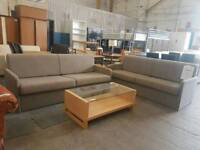 Modern fawn fabric sofa beds. Excellent condition