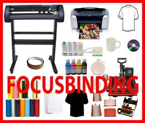 "8in1 Heat Press,24"" Metal Vinyl Cutter Plotter,Epson C88 CIS+Ink"