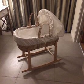Mamas and Papas Moses basket with rocking Clair De Lune base