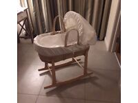 Mamas and Papas Moses basket with rocking Clair de lune base (2 mattresses and 4 sheets included)