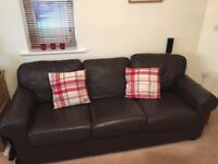 Brown Leather Sofa & Matching Leather Chair