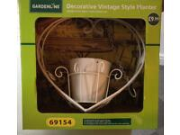 Decorative Vintage Style Garden Planter White Metal Brand New In Box