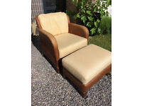 Wicker armchair and footstool