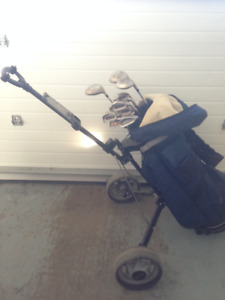 Adult Right Hand Golf Clubs and Bag with Cart