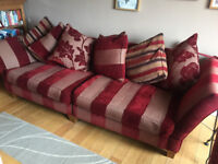 Large Red 4 Seater Pillow Back Sofa and Matching 'Cuddle' Armchair (from Silcox Son & Wicks - Bath))