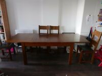 [Bath] Extendable Solid Pine Dining table + 6 Chairs (Table expands to fit 8 chairs )