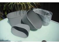 2 sets of 3 metal, trough planters