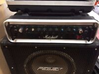 Marshall 200 Bass amp and Peavey cabint