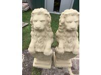 Garden ornaments lions statues