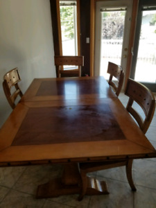 Solid wood dining table set.