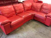 Good clean red leather corner sofa