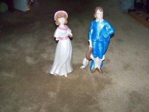 Pinkie and Blue Boy Ceramic Figurines, Exc Cond,