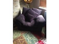 Radley Plush Purple Scatter Back Sofa and Snuggle Chair