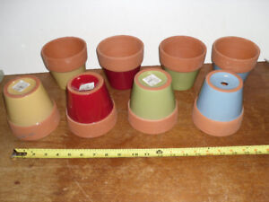 Clay Plant Pots - red yellow blue green