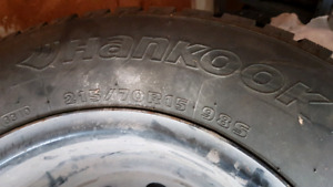 4 hankook ipike winter tires on rims