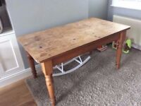 Solid pine table, with 2 drawers £10