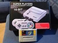 Snes Super Nintendo console and super marioworld game
