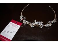 Beautiful tiara handmade silver/cream pearl in centre of cluster/cream floss made by Richard designs