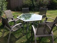 Garden furniture Set table glass top with 6 chairs silver grey colour