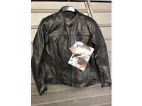 Leather motorcycle jacket size large