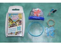 London 2012 Olympic items: snowglobe, pin, keyring, wristband & Top Trumps Olympic Legends