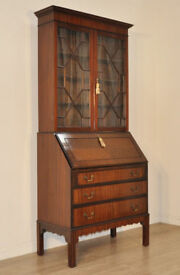 ATTRACTIVE LARGE VINTAGE MAHOGANY GLAZED DOOR BUREAU BOOKCASE CABINET CHEST