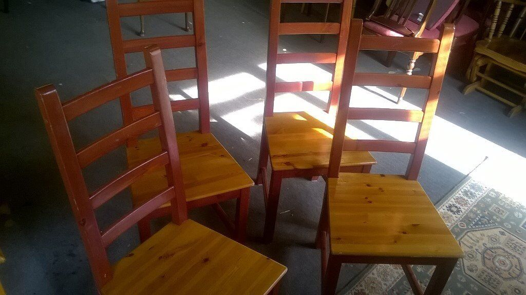 Pine dining chairs x 4in Diss, NorfolkGumtree - Pine Ladder back chairs in used condition, viewing and collection from Diss or delivery possible please ask