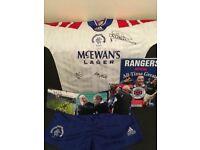 Job lot of signed Rangers Memorabilia.