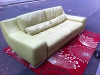Classy bright lime /green Italian leather sofa