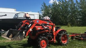 Kubota tractor and mower