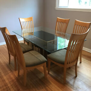 Glass Dining Table with Matching 6 Chairs for Sale