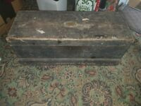 antique wooden carpenters tool chest vintage with tools