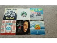 "6x 7"" singles The Clash, Bob Marley, Sex Pistols"