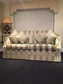 David Gundry gold 2 piece suite 3 seater sofa & 2 seater Rrp £6,500 stripe immaculate