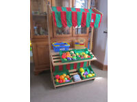 lovely ELC wooden market stall with lots of ELC cut food & other accessories