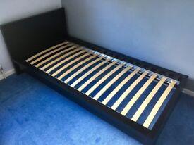 Black IKEA Malm Single Bed + Memory Foam Sprung Mattress