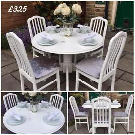 TABLE & 4 CHAIRS ~ ROUND ~ WHITE & GREY ~ VINTAGE SHABBY CHIC