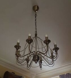 8 branch chandelier and 2 wall lights