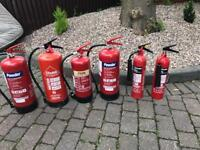 Fire extinguishers various types and sizes